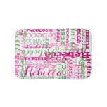 Pink and Green Fun Name Collage Allover Print Bathroom Mat
