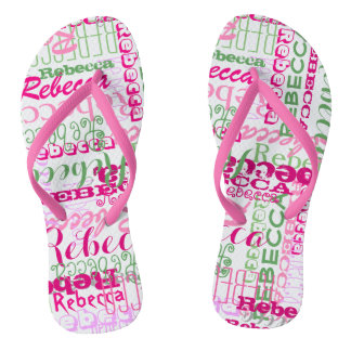 Pink and Green Fun Name Collage Allover Print Flip Flops