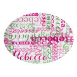 Pink and Green Fun Name Collage Allover Print Porcelain Serving Platter