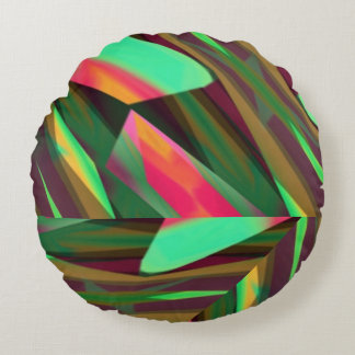 Pink and Green Funky Chevron Pattern Round Pillow