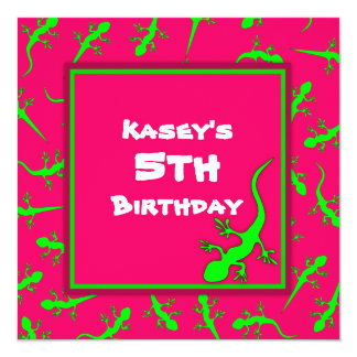 Pink and Green Gecko Lizards Theme Birthday Party Card