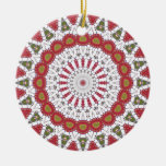 Pink and Green Geometric Fractal Design Christmas Tree Ornament