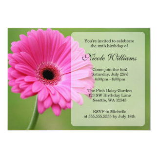 Pink and Green Gerbera Daisy Birthday Party Card