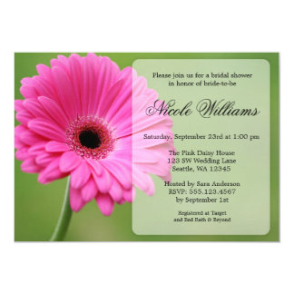 Pink and Green Gerbera Daisy Bridal Shower Card
