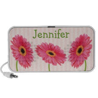Pink and Green Gerbera Daisy Doodle Speakers