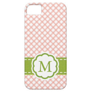 Pink and Green Gingham Monogrammed iPhone 5 Cover