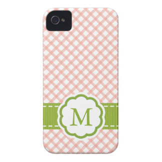 Pink and Green Gingham Monogrammed iPhone 4 Cases