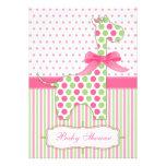 Pink and Green Giraffe Baby Shower Invitation