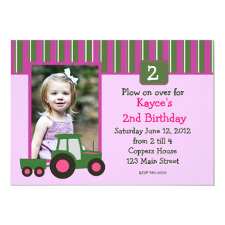 """Pink and Green Girl Tractor Birthday Invite 5"""" X 7"""" Invitation Card"""