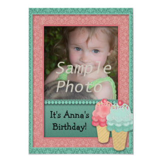 Pink and Green Girls Ice Cream Birthday Photo Card