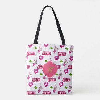 Pink and green girly watercolor bag