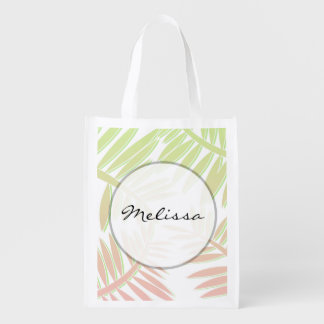 Pink and Green Gradient Palm Tree Leaves Grocery Bag