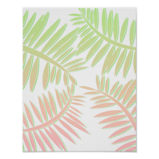 Pink and Green Gradient Palm Tree Leaves Poster