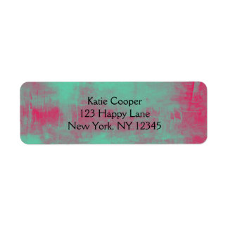 Pink and Green Grunge Painted Abstract Label