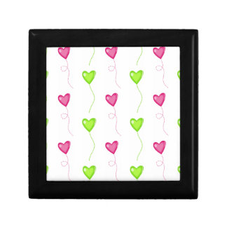 Pink and Green Heart Balloons on White Trinket Boxes