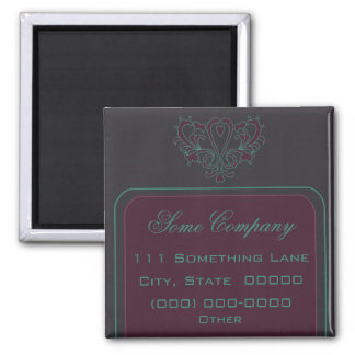 Pink And Green Heart Damask 2 Inch Square Magnet