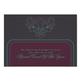Pink And Green Heart Damask Card
