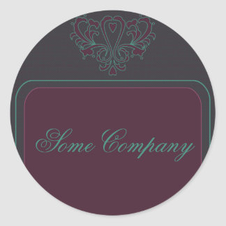 Pink And Green Heart Damask Classic Round Sticker