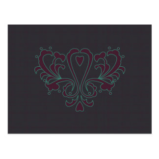 Pink And Green Heart Damask Postcard