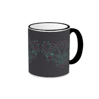 Pink And Green Heart Damask Ringer Mug