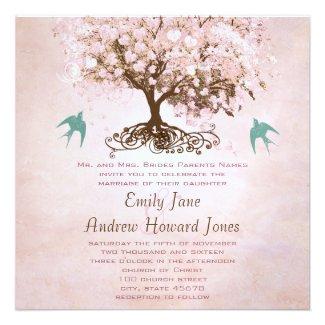 Pink and Green Heart Leaf Tree Love Bird Wedding