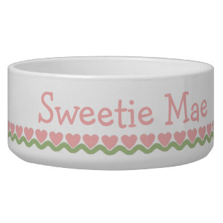 Pink and Green Heart Row Ceramic Pet Bowl