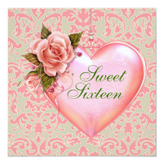 Pink and Green Heart Sweet 16 Birthday Party Card
