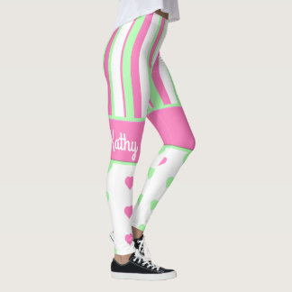 Pink and Green Hearts and Stripes Leggings