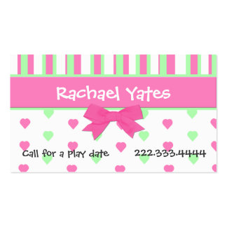 Pink and Green Hearts and Stripes Play Date Card Double-Sided Standard Business Cards (Pack Of 100)