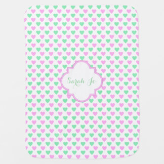 Pink and Green Hearts Pattern Personalized Receiving Blanket