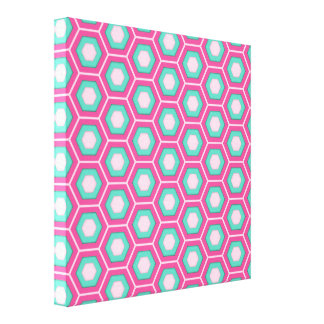 Pink and Green Hex Tiled Canvas