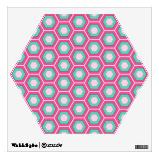 Pink and Green Hex Tiled Wall Decal