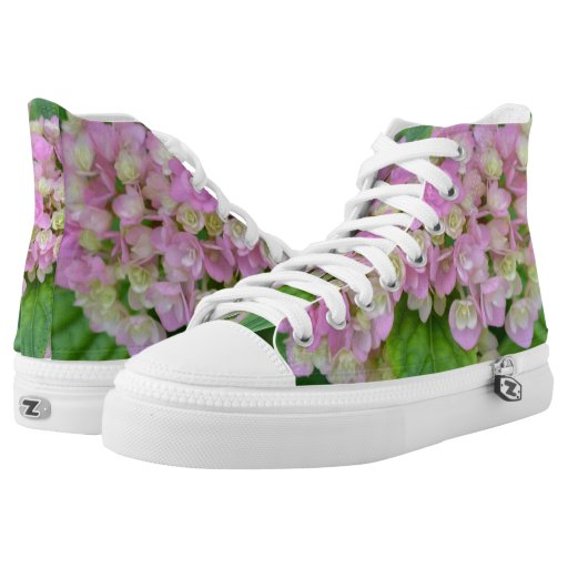 pink and green hydrangea printed shoes zazzle