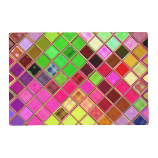 Pink and Green Jeweled Blocks Paper Placemats