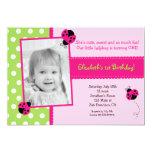 "Pink and Green Ladybug BIrthday Party Invitations 5"" X 7"" Invitation Card"