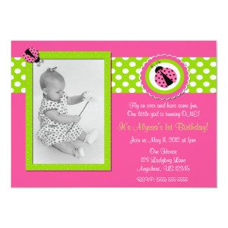 Pink and Green Ladybug Girls Birthday Invitation