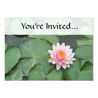 Pink and Green Lily Pad Pretty Photograph 5x7 Paper Invitation Card