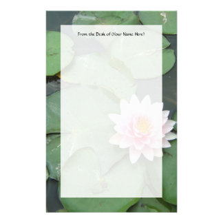Pink and Green Lily Pad Pretty Photograph Stationery