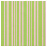 [ Thumbnail: Pink and Green Lines/Stripes Pattern Fabric ]