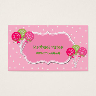 Pink and Green Lollypops Play Date Card