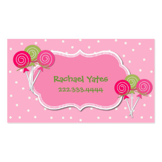 Pink and Green Lollypops Play Date Card Business Card