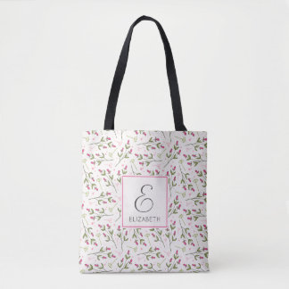 Pink and Green Long Stem Wildflowers Monogram Tote Bag