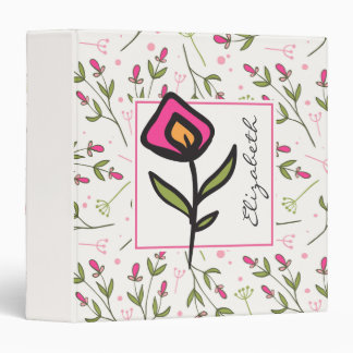Pink and Green Long Stem Wildflowers Personalized 3 Ring Binder