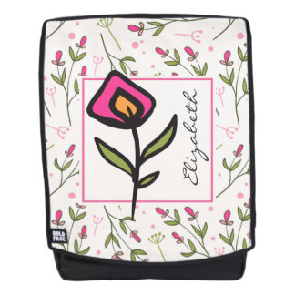 Pink and Green Long Stem Wildflowers Personalized Backpack