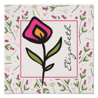 Pink and Green Long Stem Wildflowers Personalized Poster
