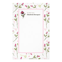 Pink and Green Long Stem Wildflowers Stationery