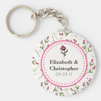 Pink and Green Long Stem Wildflowers Wedding Keychain