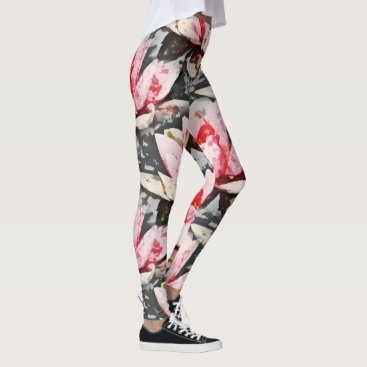 colourarts Pink and Green Lotus arty print Leggings