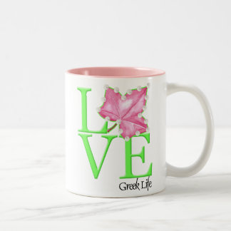 Pink and Green Love Greek Life Mug