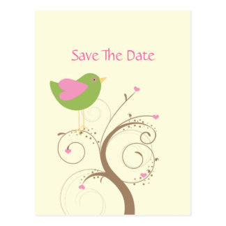 Pink and Green Lovebird and Hearts Save The Date Postcard
